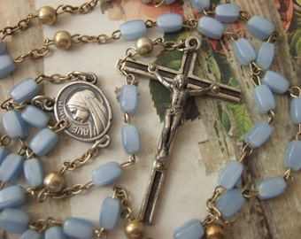Vintage Catholic Rosary Light Blue Glass Hail Mary beads metal Our Fathers - pretty Virgin Mary center medal