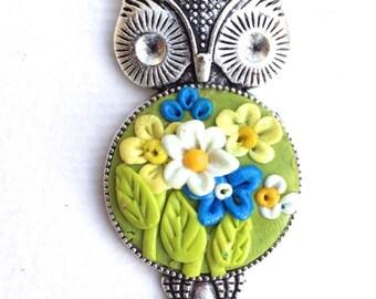 OWL, silver pendant, spring