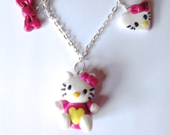 Necklace cat polymer clay