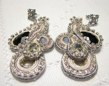 Sparkly earrings Bohemian earrings Rhinestone earrings Soutache earrings Gift for her Party earrings Women Fashion Jewelry White and black