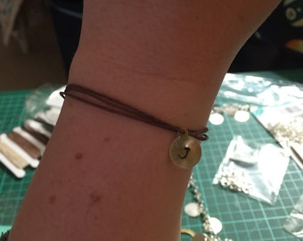Initial stamped charm braclet