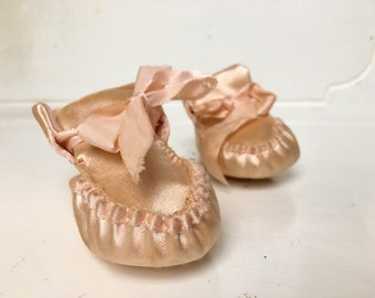 Pink Silk Baby Booties, Pair of Pastel Pink Baby/Doll Shoes