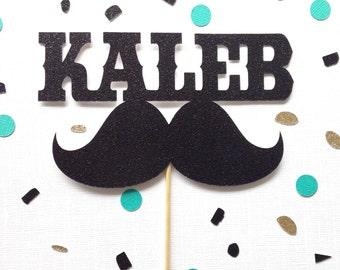 Mustache Cake Topper - Little Man Party - Birthday Party - Custom Name Cake Topper -  Black Glitter