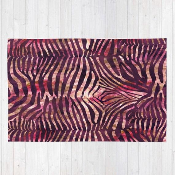 Rug. Animal Print Rug. Zebra Print Rug. Red By