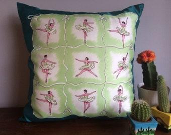 Vintage 1950's Ballerina Deadstock Scarf Throw Pillow
