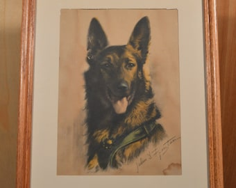 Fritz, a vintage dog print.
