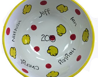 Personalized Family Popcorn Bowl, Family Popcorn Bowl, Hand Painted Pottery, Personalized Pottery, Family Movie Night,