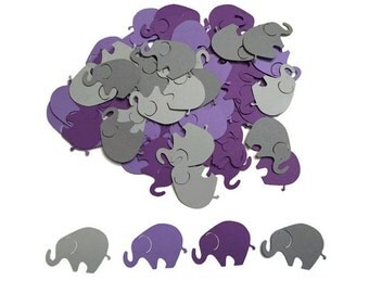 100 Assorted Purple and Grey Elephant Confetti, Die Cut Elephant, Baby Shower, Elephant Theme Party, Elephant Décor, Elephant birthday