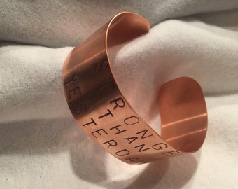 Copper hand stamped cuff