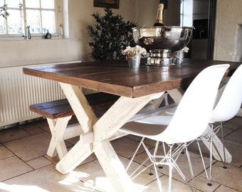 X Frame Rustic Dining table