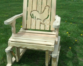 2 Foot Unfinished Pressure Treated Pine Designs Fancy Rooster Chicken Cut Out Glider Chair - Amish Made in the USA