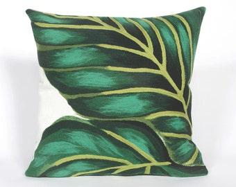 Indoor Outdoor Beach Theme Handmade Decorative Throw Pillow - Emerald Green Banana Leaf on White - FREE SHIPPING!!