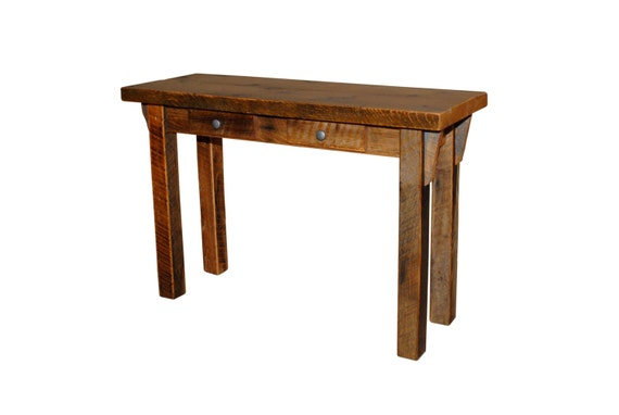 Rustic reclaimed barn wood furniture sofa table entry for Sofa table urban barn