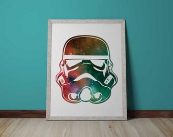 Stormtrooper Helmet Galaxy - 8x10 and more, wall art,