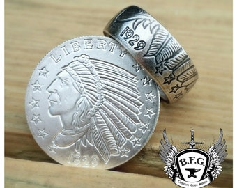 Incuse Indian 1/4oz .999 Fine Silver Coin Ring
