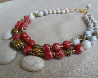 Necklace from red jasper and white turquoise.