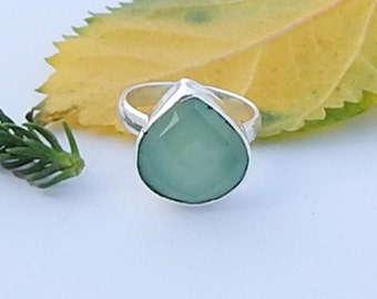 Pear Faceted Natural Aqua Chalcedony Gemstone 925 silver Ring Size 7.5