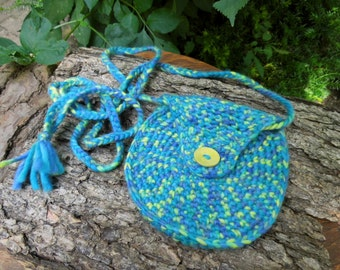 "Money bag ""Turquoise summer""from felted wool, purse, purses, belt bags, Waldorf"