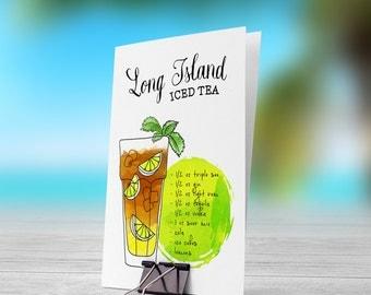 Long Island Iced Tea Illustration 5x7 inch Folded Greeting Card - GC1108