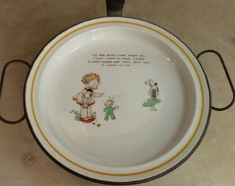 Antique childs babys china plate with metal warming dish designed by Mabel Lucie Attwell