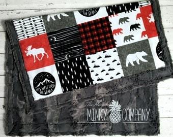 Happy Camper Baby Blanket  - Designer Faux Quilt - Charcoal