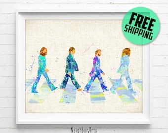 The Beatles Abbey Road Watercolor Art Print, Burlap Print, Watercolor Painting, Wall Decor, Kids Decor, Home Decor, Buy 2 Get 1 Free NA146