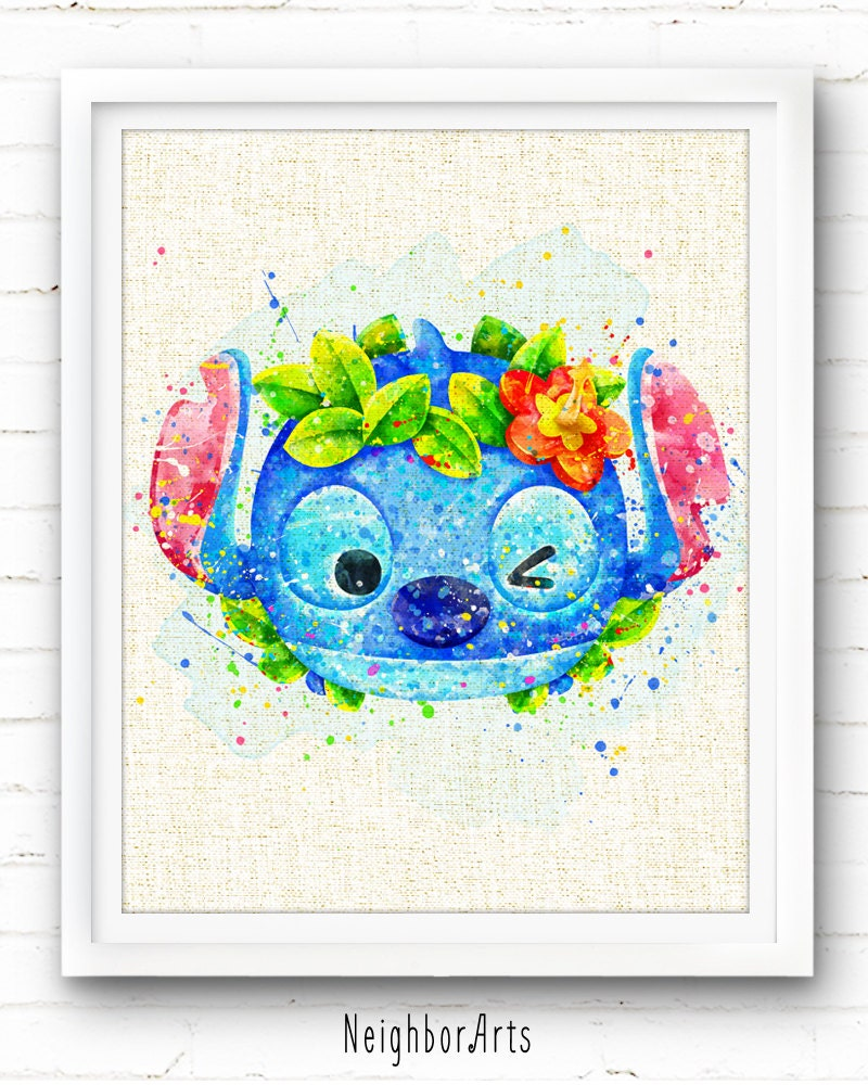 Watercolor Disney Hawaii Stitch Art Print Burlap Print Tsum