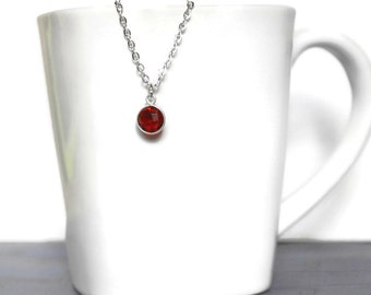 """Garnet Pendant Necklace, Silver Plated, 18"""" Stainless Steel Chain"""