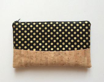 Cork clutch bag, polka dots clutch, zipper clutch, cork purse