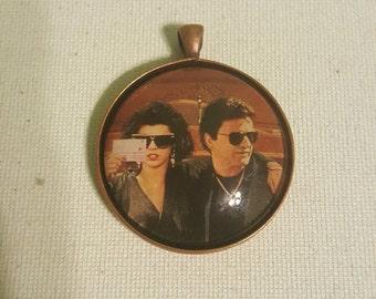 My Cousin Vinny Marissa Tomei Joe Pesci Movie Large Round Bronze Pendant Necklace