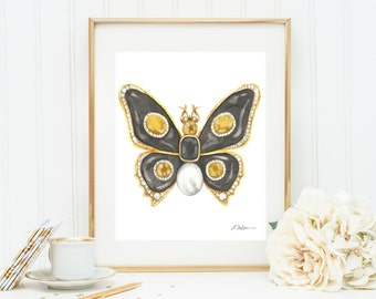 Butterfly Brooch Watercolor Rendering in Yellow Gold with Black Onyx, Citrines, Diamonds, and Pearl printed on Paper
