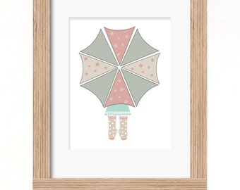 A4 umbrella girl print