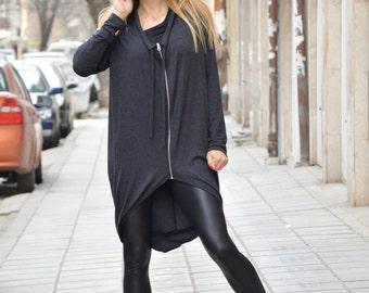New Dark Grey Maxi Sweatshirt, Extravagant Asymmetrical Jacket, Extra Long Sleeves, Zipper Top by SSDfashion