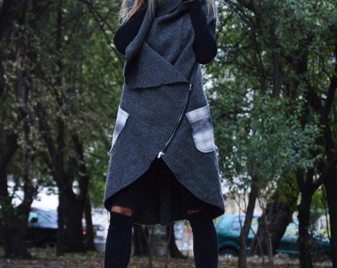 Asymmetryc Dark Gray Cashmere Maxi Coat, Sleeveless Zipper Coat, Loose Vest With Large Pocket by SSDfashion