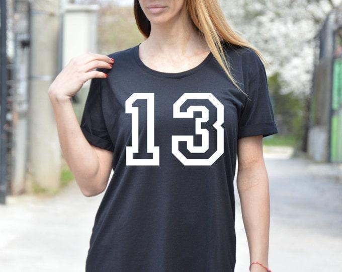 Black Short Sleeve Number Thirteen Print T-shirt , Plus Size Extravagant Black Top, Handmade Design By SSDfashion