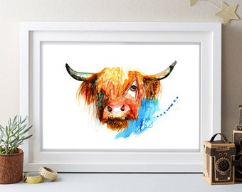 HIGHLAND COW painting,watercolor painting,large signed painting,vintage painting,animal paitning,animal art, gift,buy 2 get 1 free