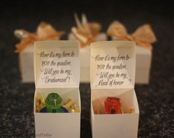 Ring Pop Boxes.  Will you be my bridesmaid?  Will you be my Maid of honor?  Now its my turn to pop the question.  Bridesmaid boxes.