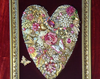 Vintage to New Repurposed Jewelry Art Breast Cancer Heart Pink Beautiful!