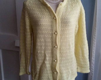 Sweet Little Vintage Knit Sweater in Canary Yellow