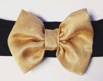 NEW Stylish and Comfortable Black Stretch Headband with a Stunning Gold Satin Bow!