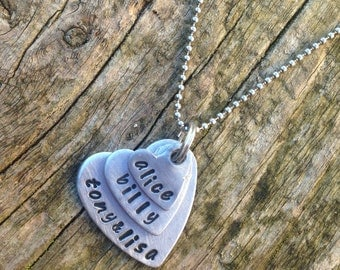 Personalized necklace. Handstamped family name necklace.