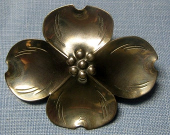 Stuart Nye Sterling Dogwood Brooch Pin