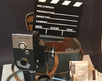 """Vintage movie camera Fujica Zoom 8 handheld """"video"""" camera 1961, with accessories, lenses, case, papers+ fun Hollywood clacker Props/display"""