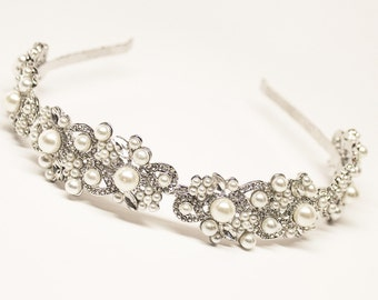 Pearl Headband, Rhinestone Headband, Bridal Headband, Bridal Headpiece, Wedding Headpiece, Wedding Headband, Hair Accessories, Bridal Tiara