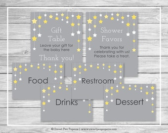 Twinkle Little Star Baby Shower Table Signs - Printable Baby Shower Table Signs - Twinkle Little Star Baby Shower - Signs - EDITABLE - SP117