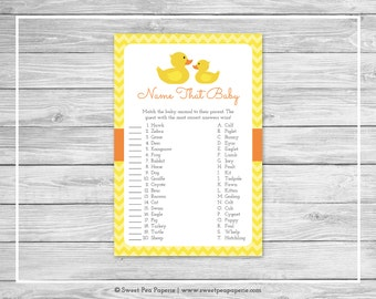 Rubber Ducky Baby Shower Name That Baby Game - Printable Baby Shower Name That Baby Game - Rubber Duck Baby Shower - Name That Baby - SP121