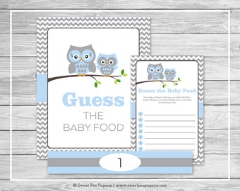 Owl Baby Shower Guess The Baby Food Game - Printable Baby Shower Guess Baby Food Game - Blue Owl Baby Shower - Baby Food Game - SP135