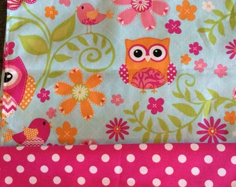 Owl and Birds Valance - Tangerine, fuchsia, pink, lime green Owls on blue with pink polka Border
