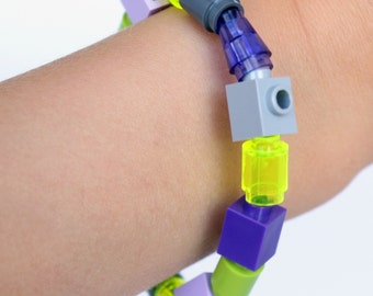 Kids Grey, Purple, Green  1 x 1 Bracelet made with LEGO® pieces - Solid & Translucent Cones, Tubes, Bricks - Jewelry made with LEGO® pieces