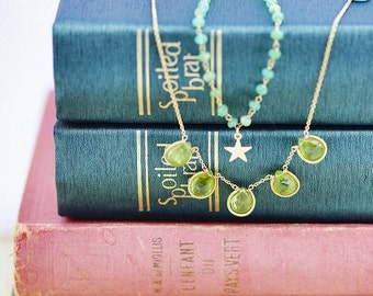 Peridot Necklace Gold - August Birthstone Necklace, Green Gemstone Necklace, Birthstone Necklace for Mom, Healing Stone Necklace
